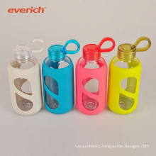 popular heat-transfer printing custom glass water bottle with silicone sleeve